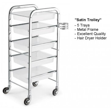 """Satin"" White Makeup Trolley (5 Trays) Details"