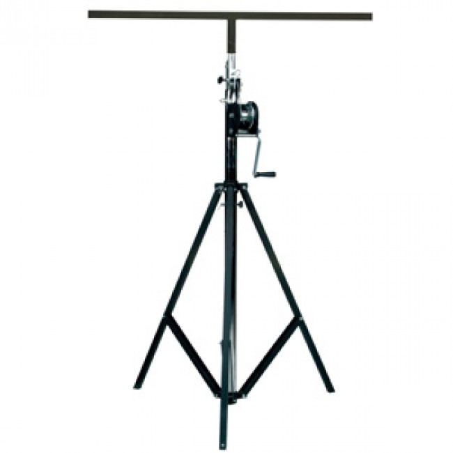 stand up lighting. winch up lighting stand with tbar 36m high hire