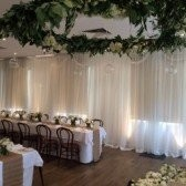 White Chiffon drapes along wall