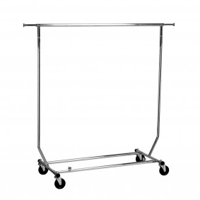 Collapsible clothes Rack Hire Single Rail Lockable Castors