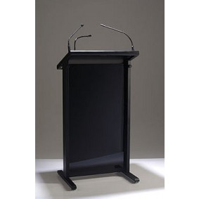 Black Lectrum Lectern with Microphones and Light