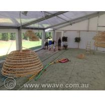 Marquee beach theme lighting set up