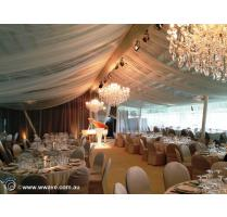 Chiffon draping chandelier hire